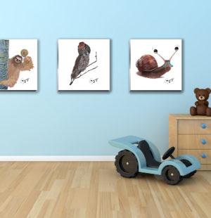 Gogimogi Wall Art-Snail-Sloth-Great Grey Owl in Child Room