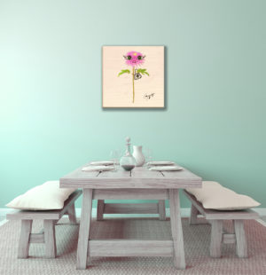 Gogimogi Wall Art-Dahlia on Wood in Diningroom