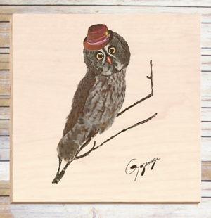 Gogimogi Wall Art-Great Grey Owl on Birchwood
