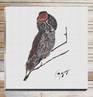 Gogimogi Wall Art-Great Grey Owl on Canvas