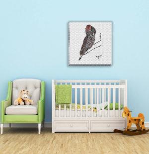 Gogimogi-Wall-Art-Great-Grey-Owl-on-Canvas-in-Nursery
