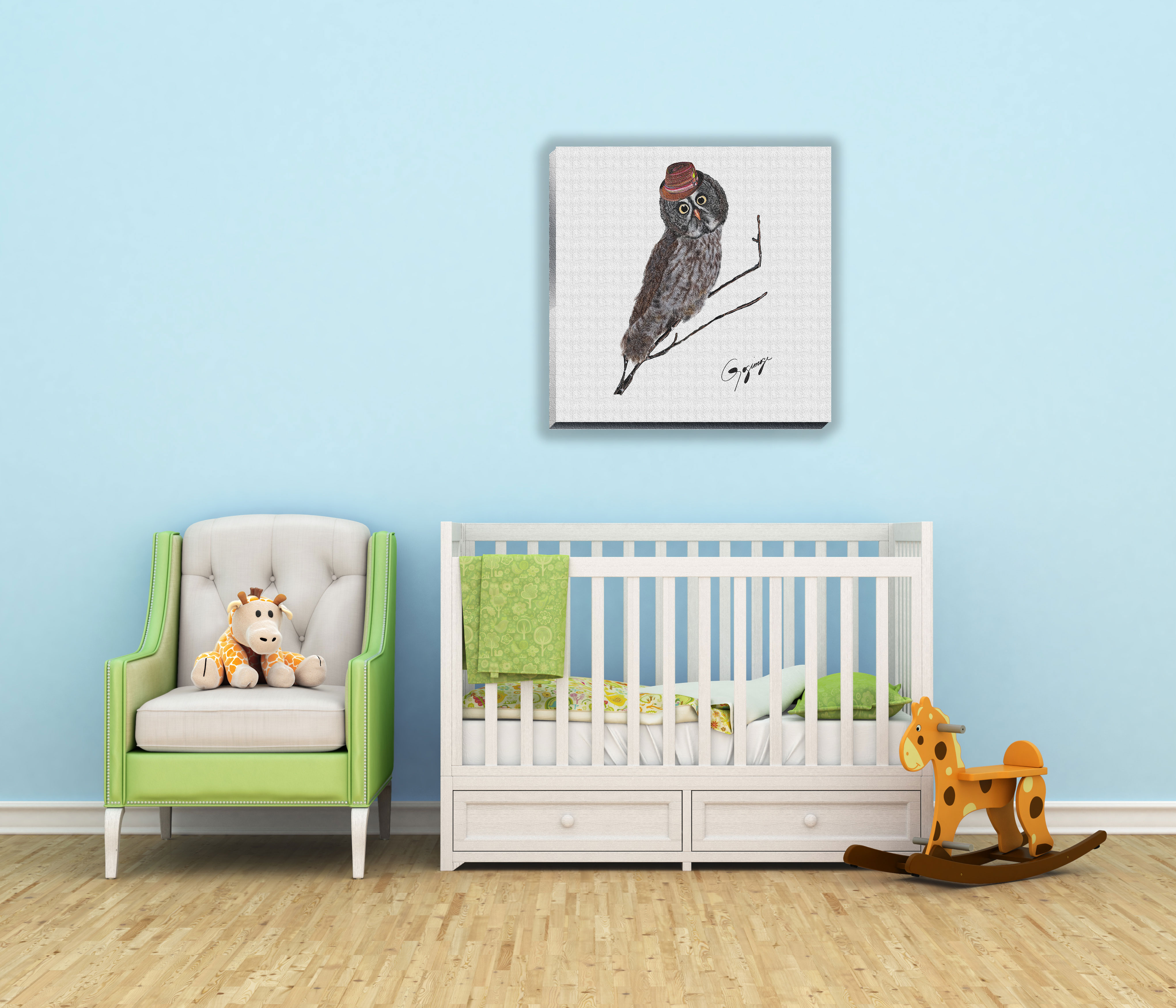 Great Grey Owl Wall Art On Canvas Part 52
