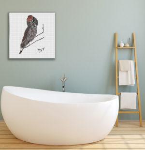 Gogimogi-Wall-Art-Great-Grey-Owl-on-Paper-in-Bathroom-1
