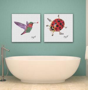 Gogimogi-Wall-Art-Hummingbird-and-Ladybird-on-Paper-in-Bathroom