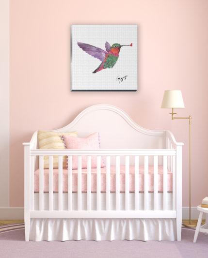 Gogimogi-Wall-Art-Hummingbird-on-Canvas-in-Nursery