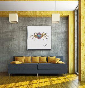 Gogimogi-Wall-Art-Jumping-Spider-on-Canvas-in-Livingroom