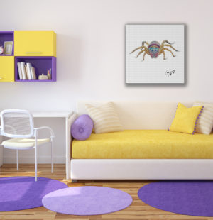 Gogimogi-Wall-Art-Jumping-Spider-on-Paper-in-Dormroom