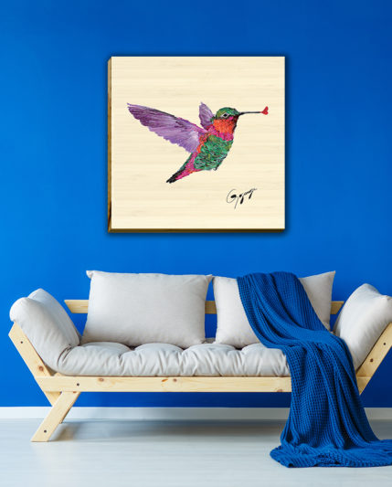 Hummingbird on Bamboo 30×30 blue wall_1600