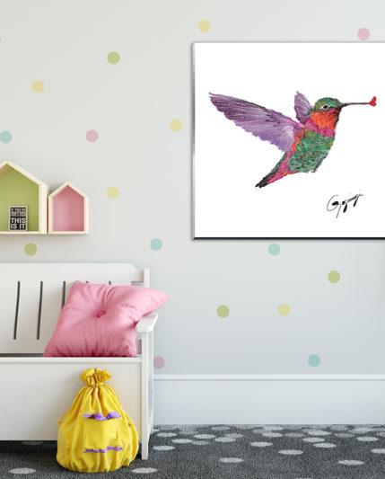 Hummingbird on CGLA 30×30 in Kid Room_1600