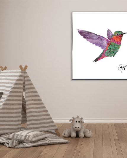Hummingbird on CGLA 30×30 in nursery_1600