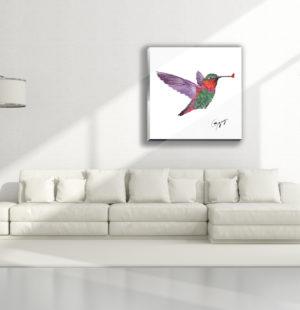 Gogimogi Wall Art-Hummingbird on Acrylic  in Livingroom