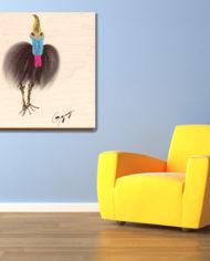 Cassowary-in-living-room-on-wood