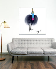 Cassowary-with-grey-couch-on-metal