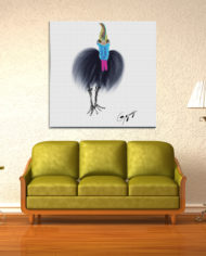 Cassowary-with-olive-couch_on-FA-paper