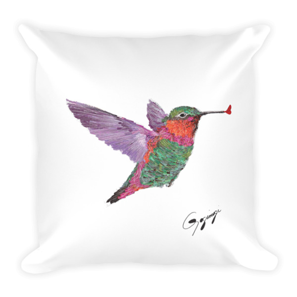 Designer Decorative Throw Pillow By Gogimogi With Hummingbird Square Home Decor
