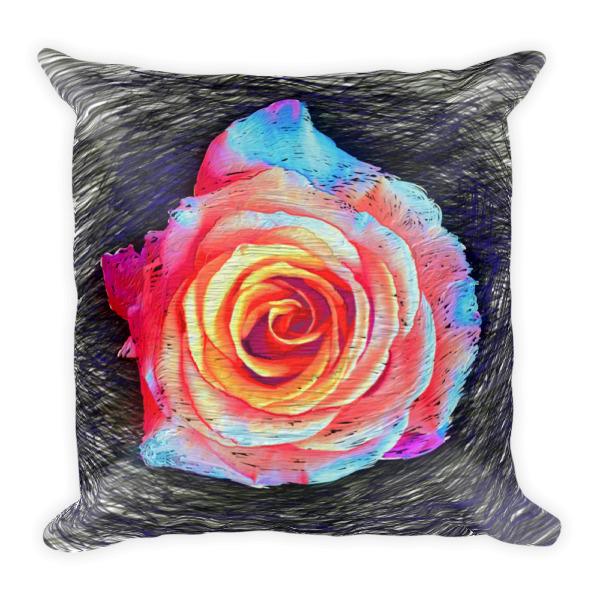 Designer Decorative Throw Pillow with Rose Art by Gogimogi - Gogimogi 23a1de5296c6